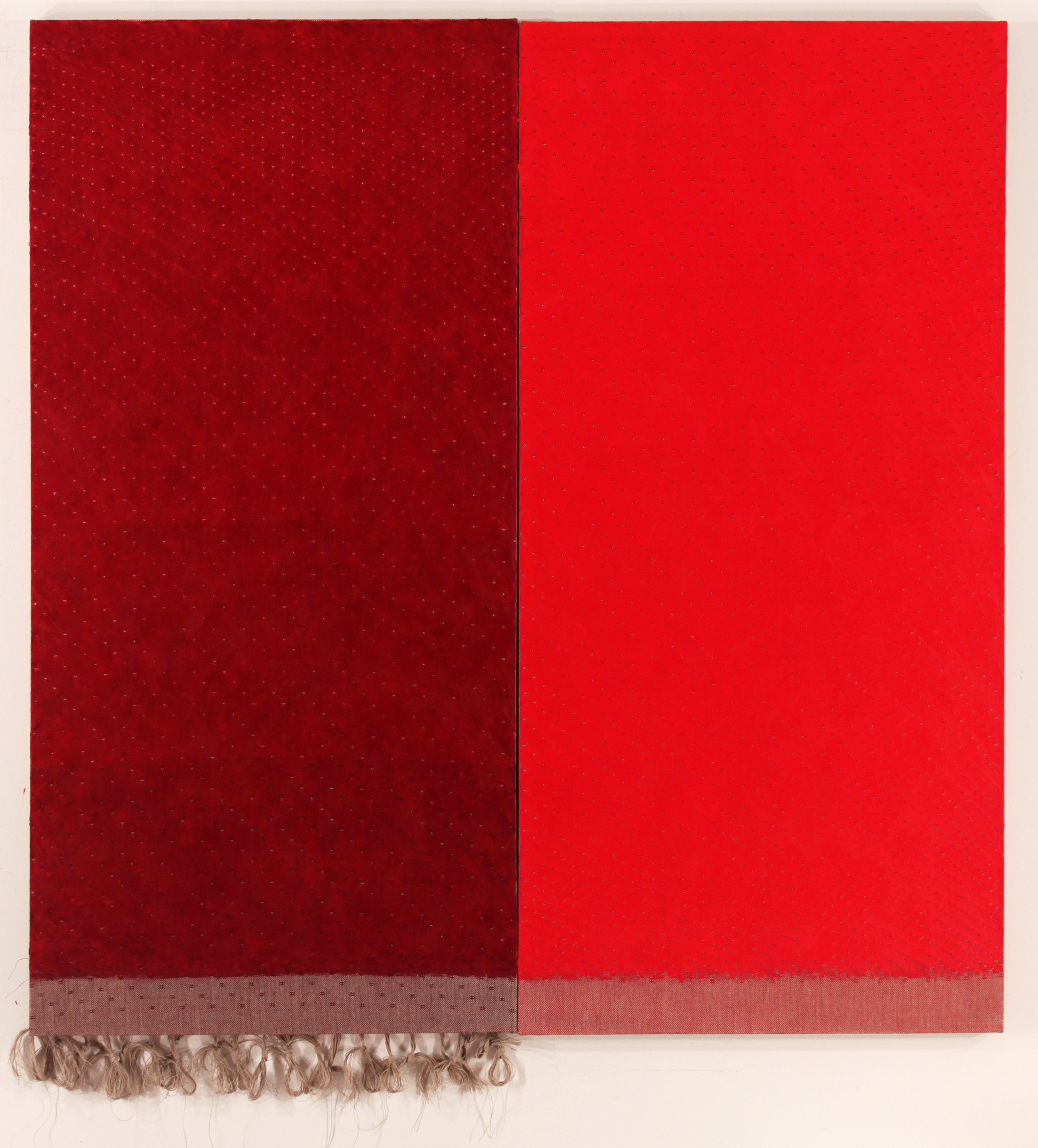 RED DIPTYCH, 2019 - 72 x 68 inch 183 x 174 cm, on handwoven dräll